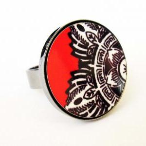 Baronyka Indian Flower In Black Whi..
