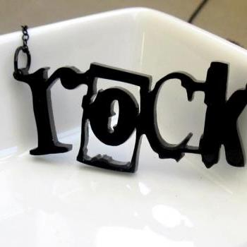 Girl Can Rock Pendant Necklace - Rock Necklace - Rock Jewelry - Fun Jewelry - Rock n Roll Jewelry - Gift For Her - Modern Jewelry
